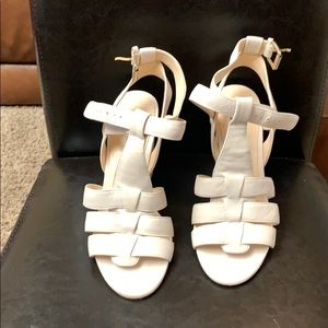 Cream Leather Sandal With Wedge